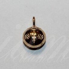 pak0037 apie 14 x 9 x 6 mm, šviesi, auksinė spalva, metalinis pakabukas, 1 vnt.