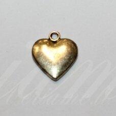 pak0038 apie 16 x 14 x 2.5 mm, šviesi, auksinė spalva, metalinis pakabukas, 1 vnt.