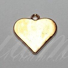 pak0042 apie 20 x 19 x 1.5 mm, rusiško aukso spalva, metalinis pakabukas, 1 vnt.