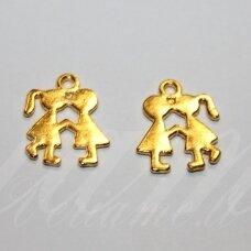 PAK0415 apie 13 x 17 x 1 mm, aukso spalva, metalinis, pakabukas, 1 vnt.