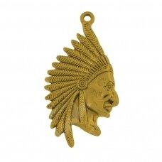 pak0609 apie 55 x 27 x 3.5 mm, sendinta auksinė spalva, metalinis pakabukas, 1 vnt.