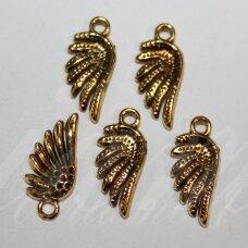 PAK0615 apie 20 x 9 x 2.5 mm, sendinto aukso spalva, pakabukas, 1 vnt.