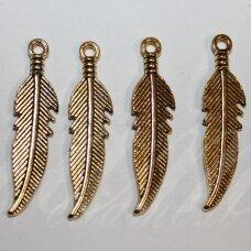 PAK0616 apie 40 x 10 x 2.5 mm, sendinto aukso spalva, pakabukas, 1 vnt.