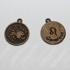pak0701 apie 20.5 x 17.5 x 1 mm, žalvario spalva, zodiakas leo, liūtas, metalinis pakabukas, 1 vnt.