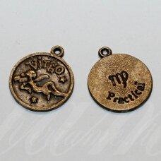 PAK0703 apie 20.5 x 17.5 x 1 mm, žalvario spalva, zodiakas VIRGO, mergelė, metalinis, pakabukas, 1 vnt.