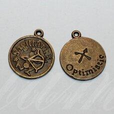 pak0707 apie 20.5 x 17.5 x 1 mm, žalvario spalva, zodiakas sagittarius, šaulys, metalinis pakabukas, 1 vnt.