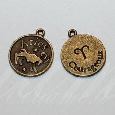 pak0711 apie 20.5 x 17.5 x 1 mm, žalvario spalva, zodiakas aries, avinas, metalinis pakabukas, 1 vnt.