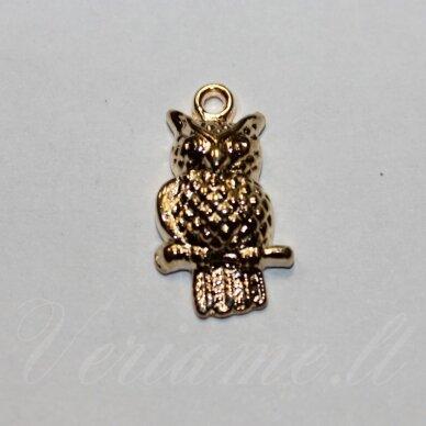 pak0015 apie 21.5 x 12 x 4.5 mm, rusiško aukso spalva, metalinis pakabukas, 1 vnt.