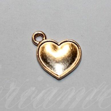 pak0026 apie 16 x 14 x 2 mm, šviesi, auksinė spalva, metalinis pakabukas, 1 vnt.
