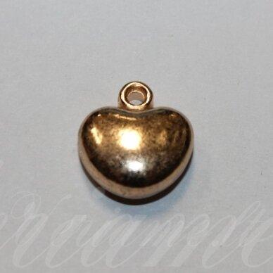 pak0036 apie 16.5 x 15.5 x 7 mm, šviesi, auksinė spalva, metalinis pakabukas, 1 vnt.