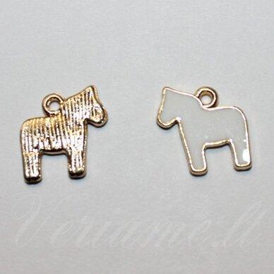 pak0305 apie 13 x 12 x 1.5 mm, rusiško aukso spalva, balta spalva, metalinis pakabukas, 1 vnt.