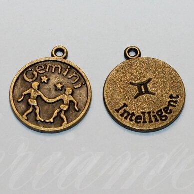 pak0705 apie 20.5 x 17.5 x 1 mm, žalvario spalva, zodiakas gemini, dvyniai, metalinis pakabukas, 1 vnt.