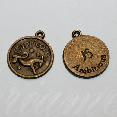 pak0709 apie 20.5 x 17.5 x 1 mm, žalvario spalva, zodiakas capricorn, ožiaragis, metalinis pakabukas, 1 vnt.