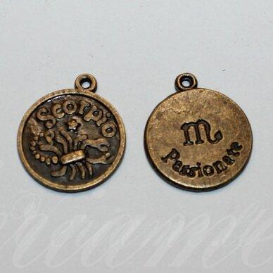 pak0710 apie 20.5 x 17.5 x 1 mm, žalvario spalva, zodiakas scorpio, skorpionas, metalinis pakabukas, 1 vnt.