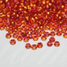 pccb00354-10/0 2.2 - 2.4 mm, apvali forma, skaidrus, oranžinė spalva, viduriukas su folija, viduriukas violetinė spalva, apie 50 g.