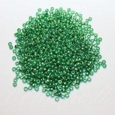 pccb00049-09/0 2.4 - 2.8 mm, apvali forma, metalizuota, žalia spalva, apie 50 g.