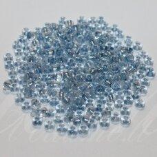 PCCB00078-06/0 2.8 - 3.2 mm, apvali forma, skaidrus, viduriukas mėlyna spalva, apie 50 g.
