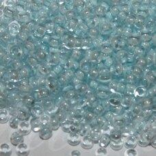 pccb00228-10/0 2.2 - 2.4 mm, apvali forma, skaidrus, viduriukas žydra spalva, apie 50 g.