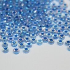 pccb00363-10/0 2.2 - 2.4 mm, apvali forma, skaidrus, viduriukas mėlyna spalva, ab danga, apie 50 g.