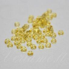 pccb01181-11/0 2.0 - 2.2 mm, apvali forma, apvali forma, skaidrus, geltona spalva, apie 50 g.