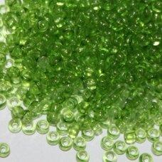 pccb01654-15/0 1.4 - 1.5 mm, apvali forma, skaidrus, žalia spalva, apie 50 g.