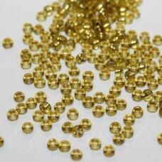 pccb02078-09/0 2.4 - 2.8 mm, apvali forma, skaidrus, geltona spalva, viduriukas su folija, apie 50 g.
