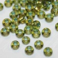 PCCB02088-08/0 2.8 - 3.2 mm, apvali forma, skaidrus, žalia spalva, viduriukas žydra spalva, apie 50 g.