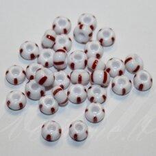 pccb03890-07/0 4.2 - 3.7 mm, apvali forma, balta spalva, dryžuoti, raudona spalva, apie 50 g.