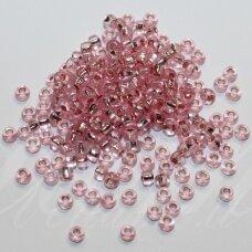 pccb08273-09/0 2.4 - 2.8 mm, apvali forma, skaidrus, rožinė spalva, viduriukas su folija, apie 50 g.