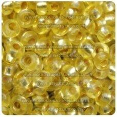 pccb08283-09/0 2.4 - 2.8 mm, apvali forma, skaidrus, geltona spalva, viduriukas su folija, apie 50 g.