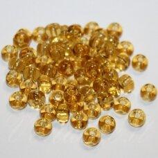 pccb10020-12/0 1.8 - 2.0 mm, apvali forma, skaidrus, geltona spalva, apie 50 g.