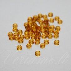 pccb10050-12/0 1.8 - 2.0 mm, apvali forma, skaidrus, rusva spalva, apie 50 g.