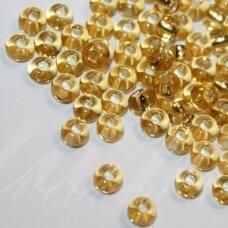 PCCB17020-07/0 3.2 - 3.7 mm, apvali forma, skaidrus, geltona spalva, viduriukas, su folija, apie 50 g.