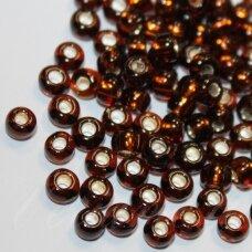 pccb17140-09/0 2.4 - 2.8 mm, apvali forma, skaidrus, tamsi, ruda spalva, viduriukas su folija, apie 50 g.