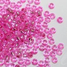 pccb18275-09/0 2.4 - 2.8 mm, apvali forma, skaidrus, rožinė spalva, viduriukas su folija, apie 50 g.