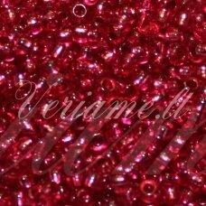 pccb18298-08/0 2.8 - 3.2 mm, apvali forma, skaidrus, raudona spalva, viduriukas su folija, apie 50 g.