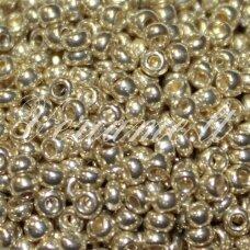 pccb18303-13/0 1.6 - 1.8 mm, apvali forma, šviesi, auksinė spalva, apie 50 g.