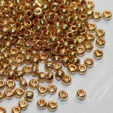 pccb18304-13/0 1.6 - 1.8 mm, apvali forma, auksinė spalva, apie 50 g.