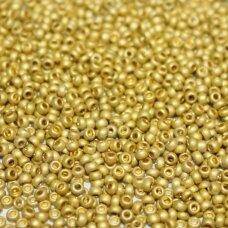 pccb39001/18586-10/0 2.2 - 2.4 mm, apvali forma, metalizuota, matinė, auksinė spalva, apie 50 g.