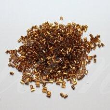 """pccb22001/17090-1"""" 2.2 x 1.4 mm, pailga forma, kvadratinė skylė, tamsi, auksinė spalva, viduriukas su folija, apie 50 g."""