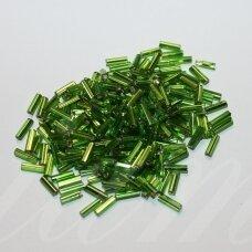 """pccb22001/57220-3"""" 6.5 x 2 mm, pailga forma, žalia spalva, skaidrus, kvadratinė skylė, viduriukas su folija, apie 50 g."""