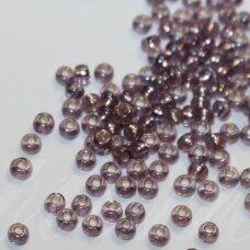 pccb27019-10/0 2.2 - 2.4 mm, apvali forma, skaidrus, violetinė spalva, ab danga, apie 50 g.