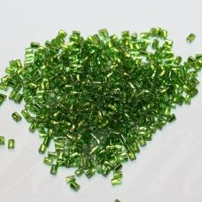 """pccb28001/57430-1"""" 2 x 1 mm, twisted, oblong shape, square hole, green color, middle with foil, about 50 g."""