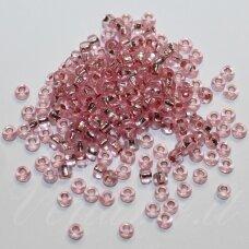 PCCB29001/08273-10/0 2.2 - 2.4 mm, apvali forma, skaidrus, rožinė spalva, viduriukas su folija, apie 50 g.