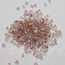 PCCB29001/78212-10/0 2.2 - 2.4 mm, apvali forma, skaidrus, rožinė spalva, kvadratinė skylė, viduriukas su folija, apie 50 g.