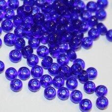 pccb30100-12/0 1.8 - 2.0 mm, apvali forma, tamsi, mėlyna spalva, apie 50 g.