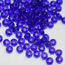 pccb30100-13/0 1.6 - 1.8 mm, apvali forma, tamsi, mėlyna spalva, apie 50 g.