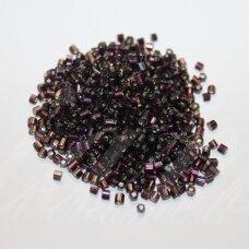 PCCB31001/27080-10/0 2.2 x 2.2 mm, pailga forma, skaidrus, violetinė spalva, viduriukas su folija, apie 50 g.