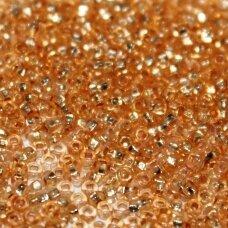pccb311/29001/08289-10/0 2.2 - 2.4 mm, apvali forma, skaidrus, oranžinė spalva, kvadratinė skylė, viduriukas su folija, apie 50 g.