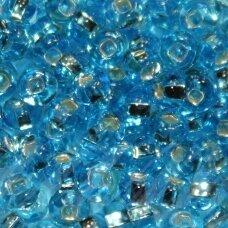 pccb321/29001/67010-06/0 3.7 - 4.3 mm, apvali forma, skaidrus, mėlyna spalva, kvadratinė skylė, viduriukas su folija, apie 50 g.